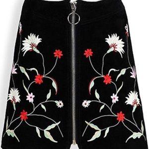 NWOT Zara Suede Embroidered Mini Skirt